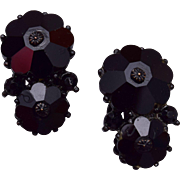 Weiss Black Rivoli Crystal Earrings