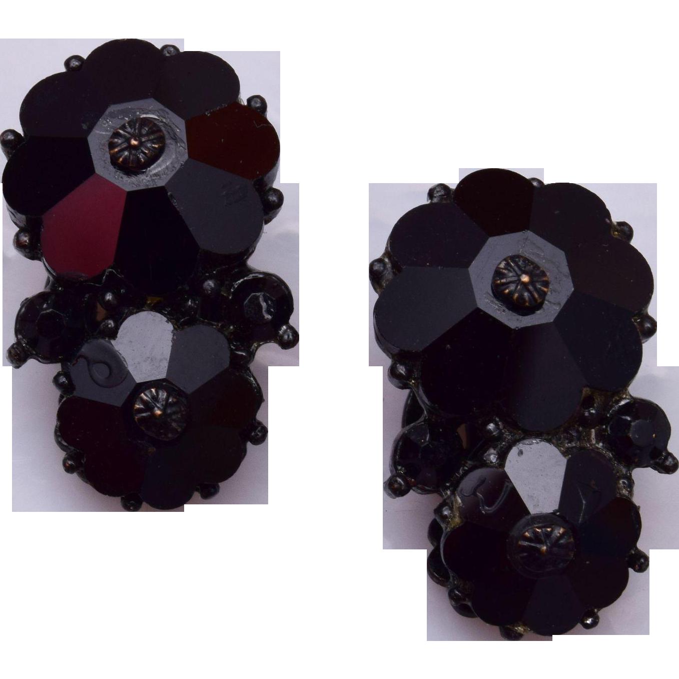 Weiss Black Rivoli Crystal Earrings