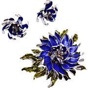Coro Blue Enameled Flower Brooch and Earring Set
