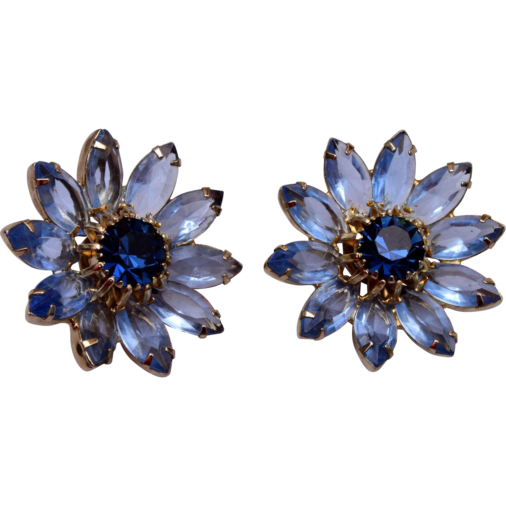 Weiss Blue Flower Earrings