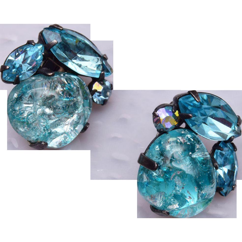 Coro Aqua Glass Earrings
