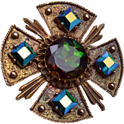 Dodds AB Rhinestone and Maltese Cross Brooch or Pendant