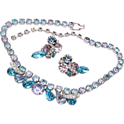 Eisenberg Aqua and Color Change Necklace and Earring Set