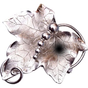 Sterling Grape Leaf Pendant or Brooch