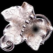 Sterling Grape Leaf Pendant or Brooch