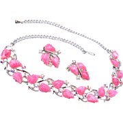 Pink Fruit Salad Necklace and Earring Set