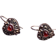 Sterling Thailand Marcasite and Garnet Pierced Earrings
