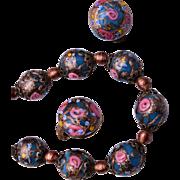 Wedding Cake Venetian Beaded Necklace and Earring Set