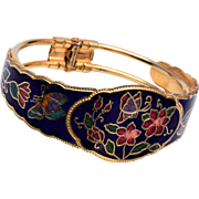 Enamel Cloisonne Clamper Bracelet With Flowers and Butterflys