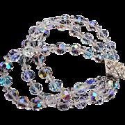 3 Strand Bracelet with Rhinestone Clasp