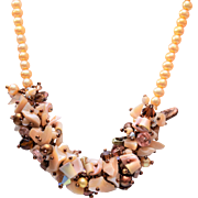 Faux Pearl, Shell and Crystal Necklace