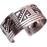 Sterling Taxco Mexican Aztec Design Cuff Bracelet
