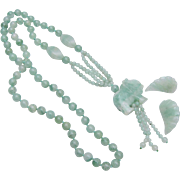 Jade Elephant Necklace and Pierced Earring Set