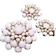 Weiss White Milk Glass Brooch and Earring Set