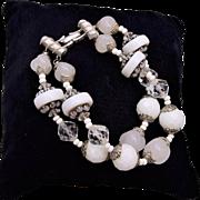 Vendome Milk Glass Beaded 2 Strand Bracelet