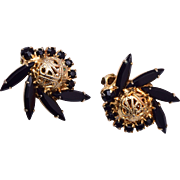D&E Juliana Earrings - Black and Gold Filigree