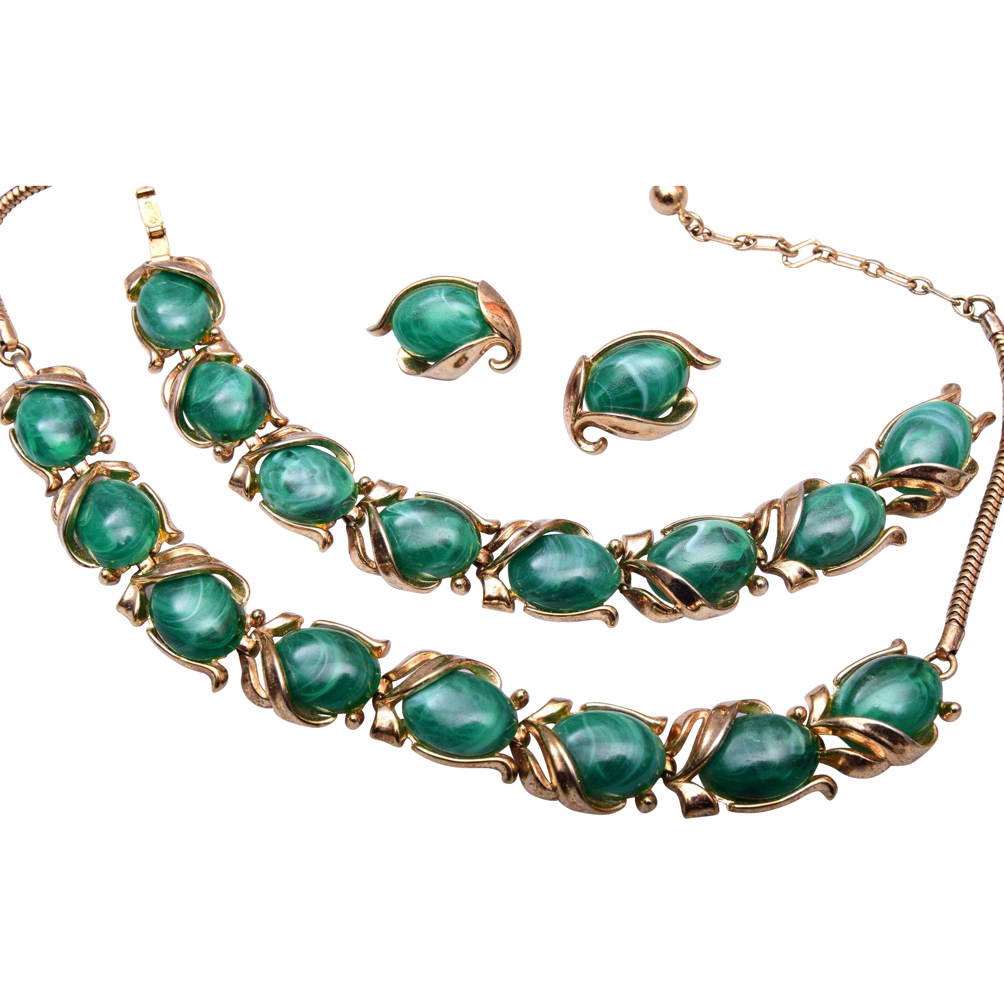 Green Crown Trifari Necklace, Bracelet and Earring Set