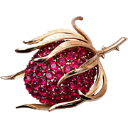 Trifari Red Rhinestone Fruit Brooch