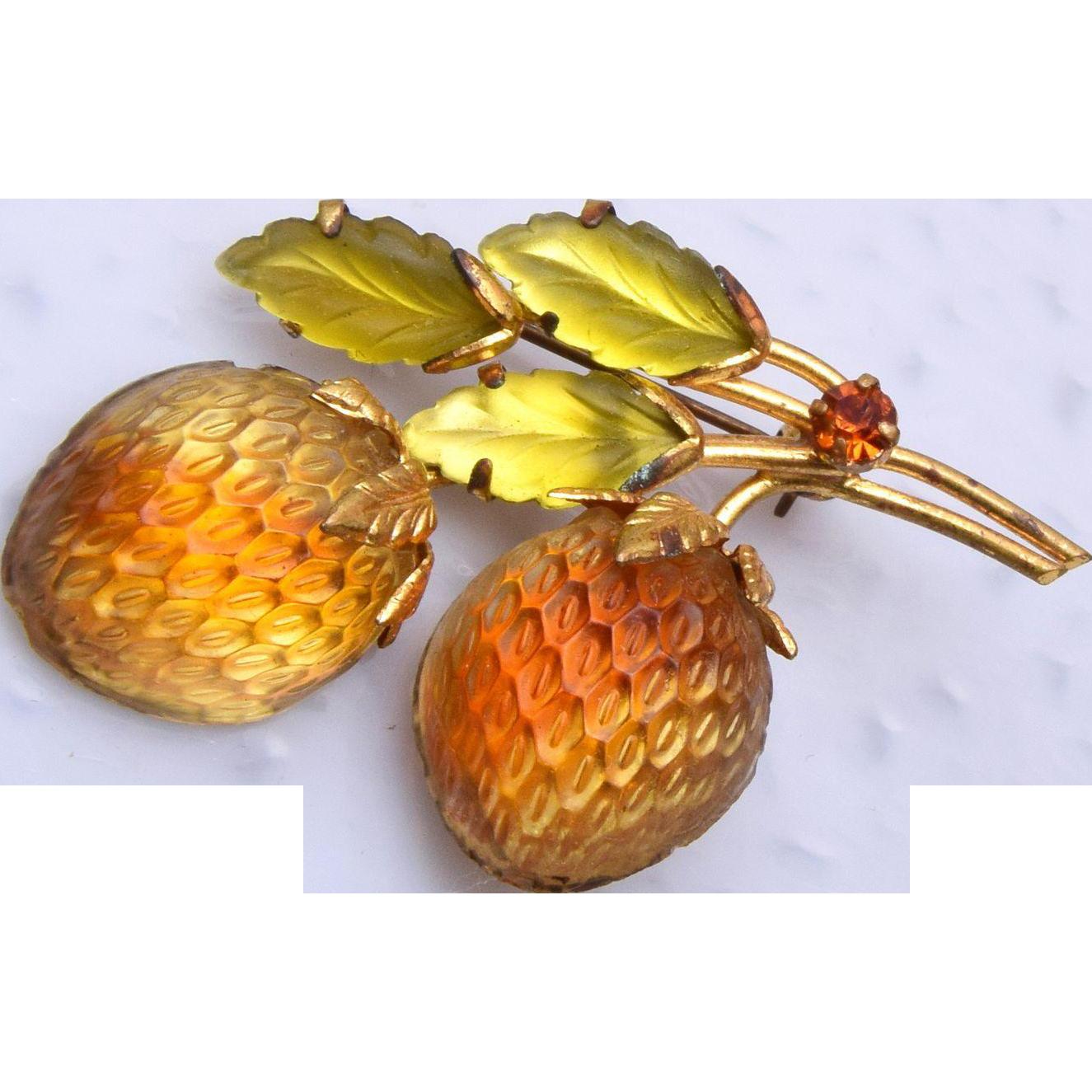 Austria Glowing Golden Strawberry Brooch