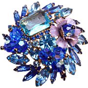 D&E Blue Crystal, Rhinestone and Enameled Flower Brooch