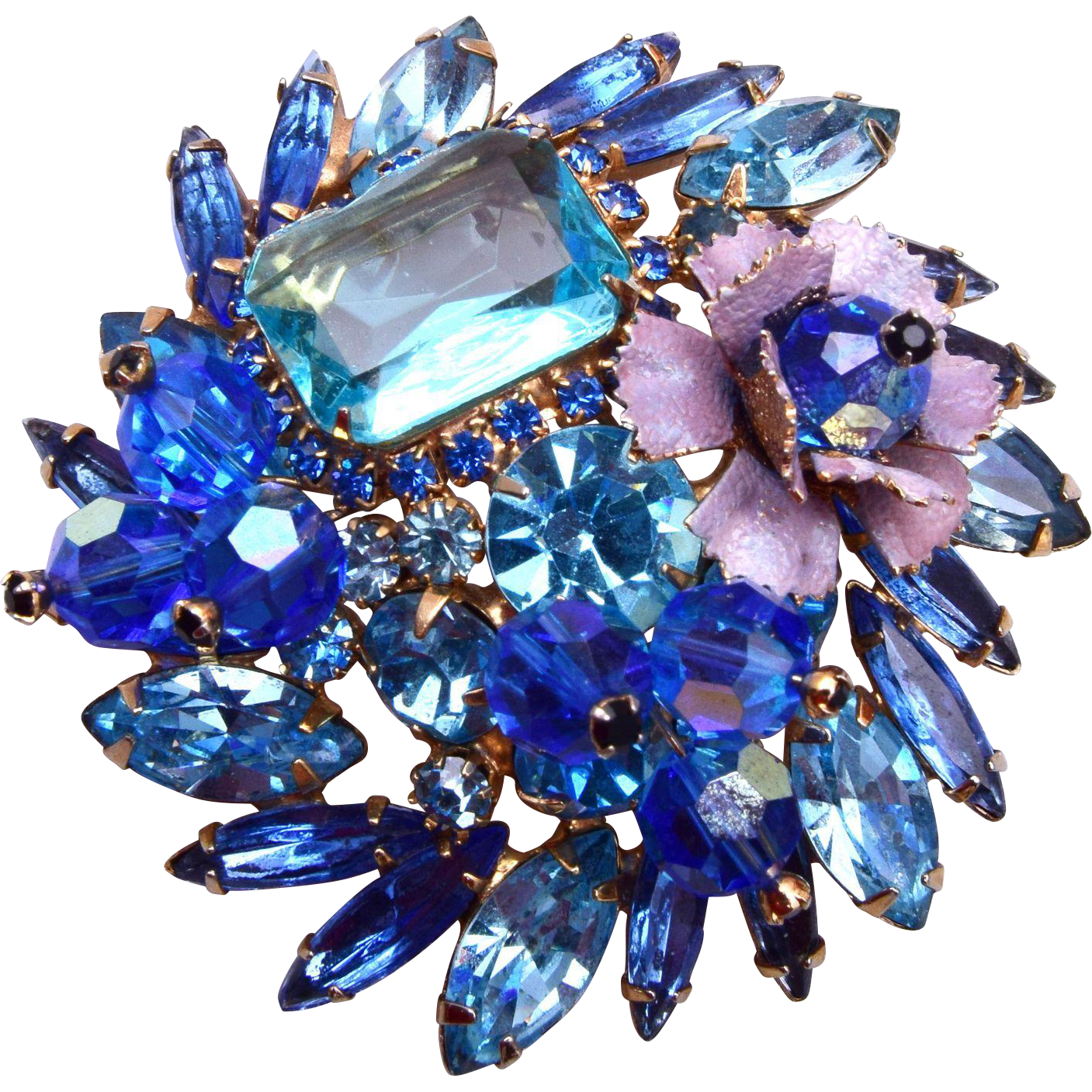 D&E Blue Crystal, Rhinestone and Enameled Flower Brooch