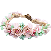 Germany Pink and Green Glass Flower Bracelet
