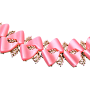 Pink Thermoset and Enameled Bracelet