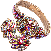Red AB Rhinestone Bracelet and Earring Set