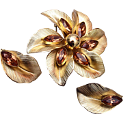 Whiting and Davis Flower Brooch and Earring Set