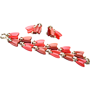 Lisner Red Thermoset Bracelet and Earring Set