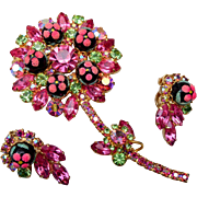 D&E Juliana Pink and Green Flower Brooch and Earring Set