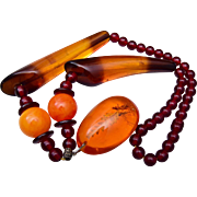 Gorgeous Amber and Lucite Necklace
