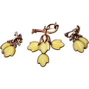 Trifari Yellow Dogwood Brooch and Earring Set