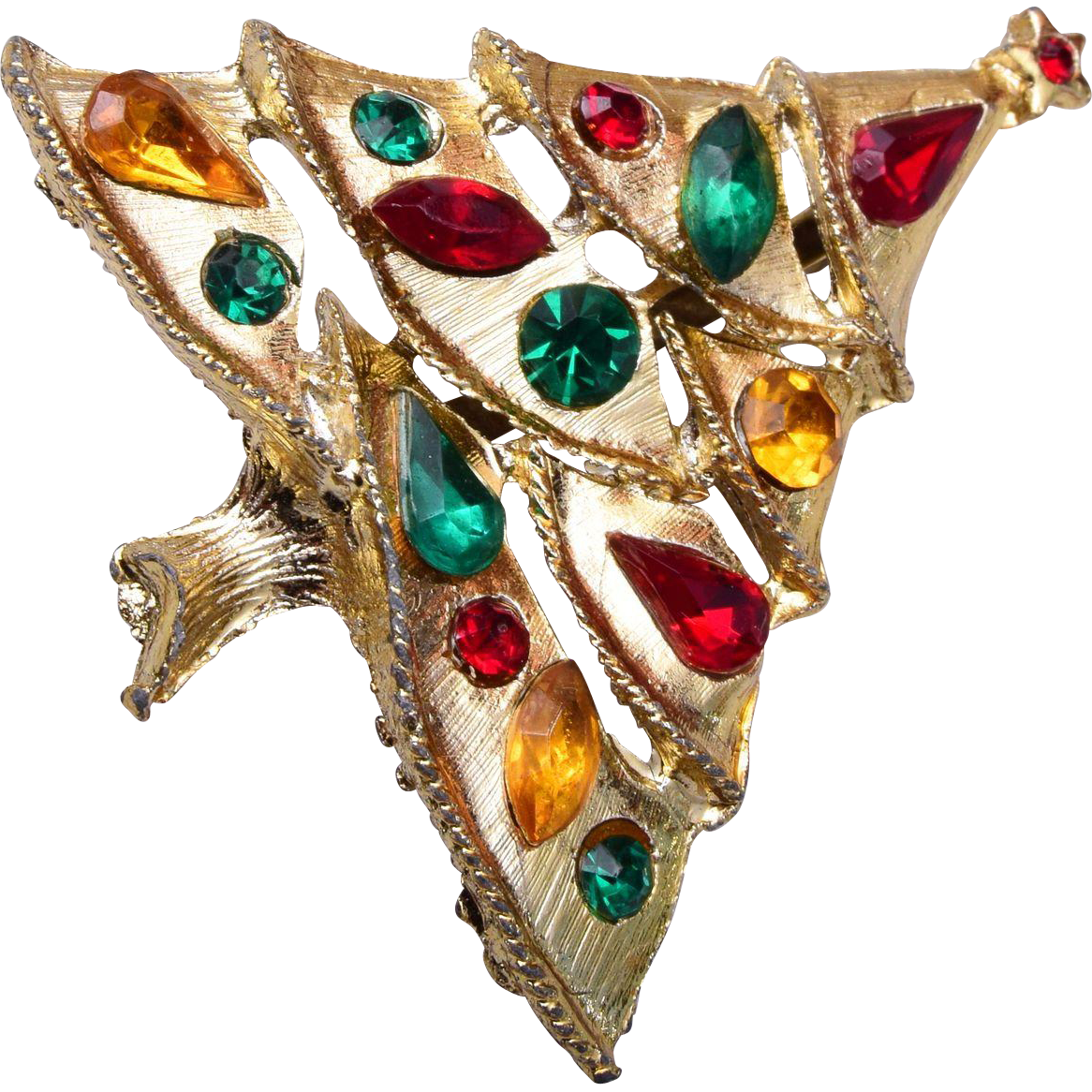 Colorful Rhinestone Christmas Tree Brooch