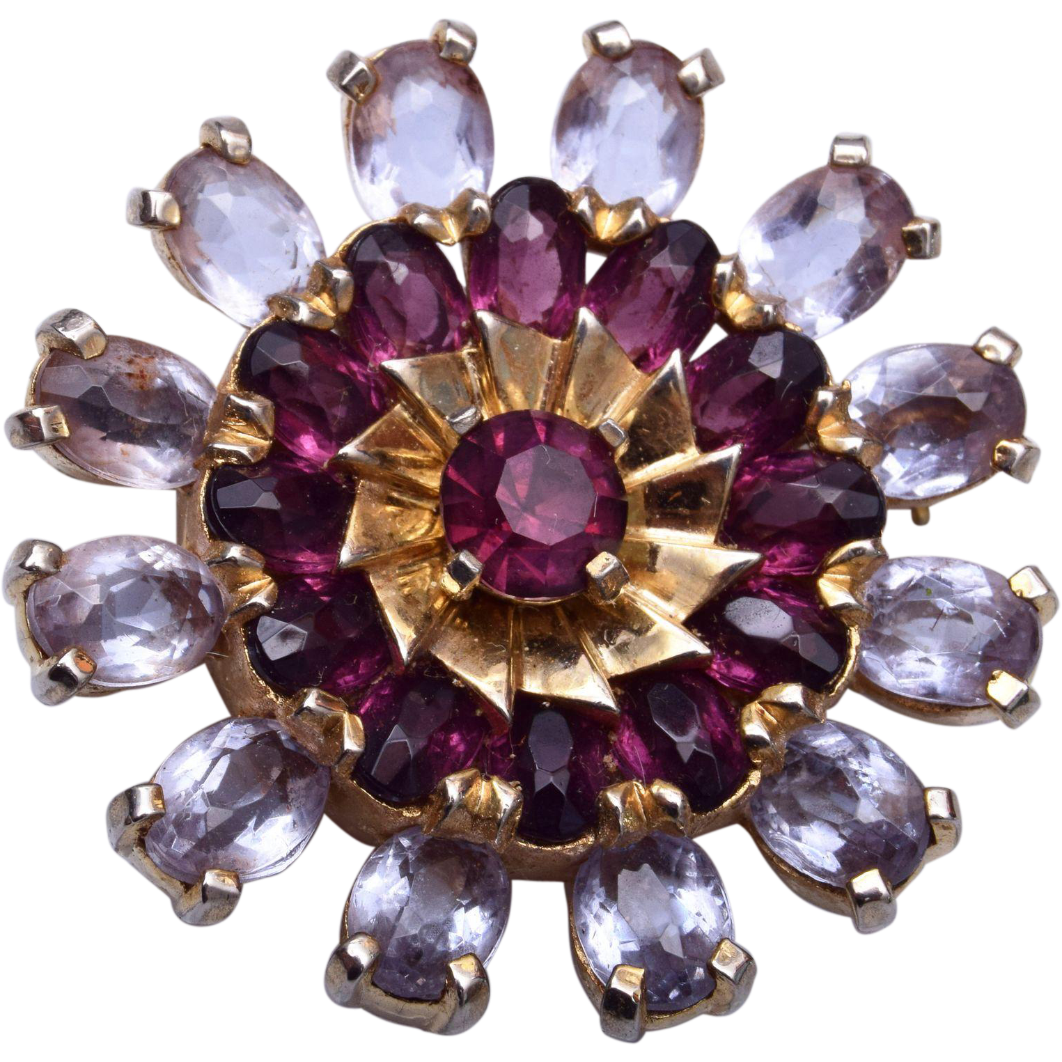 Beautiful Open Backed Purple Rhinestone Brooch