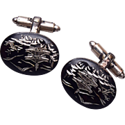 Etched Black Oriental Cuff Links