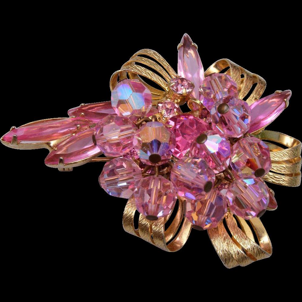 Pink Dangling Crystal D&E Brooch