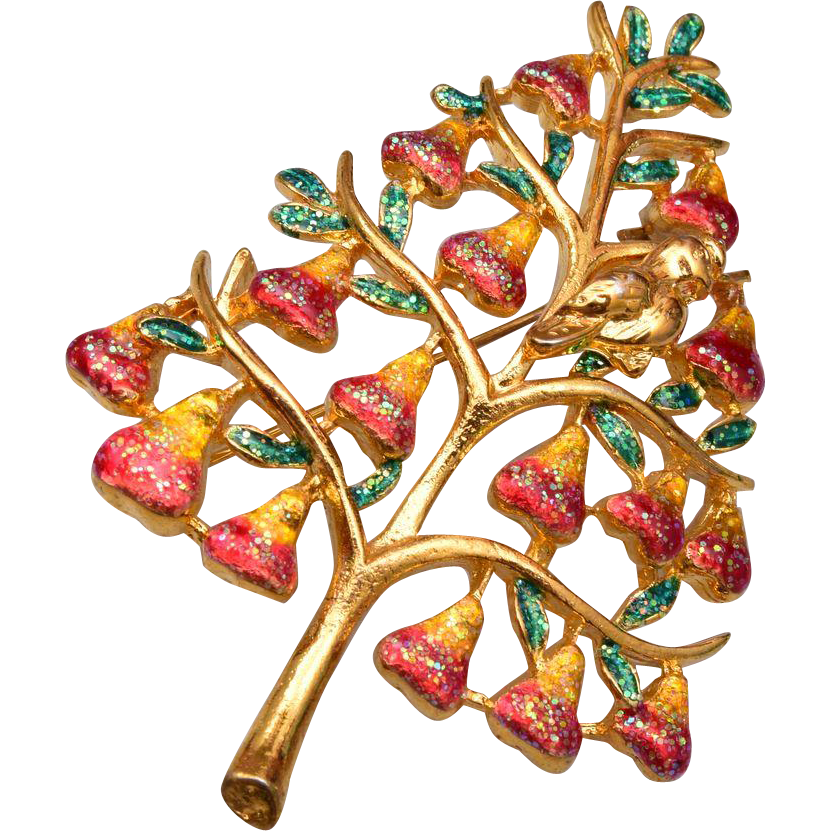 Partridge in a Pear Tree Brooch
