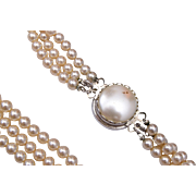 Reversible Clasp 3 Strand Faux Pearl Necklace