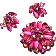 Pink Rhinestone Brooch and Earring set