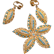 1968 Ocean Star Sarah Coventry Star Fish Brooch and Earring Set