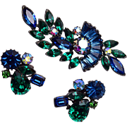 Claudette Blue and Green Rhinestone Brooch and Earring Set