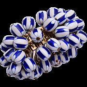 Blue and White Plastic Cha Cha Bracelet