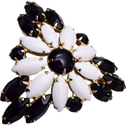 Black and White Prong Set Brooch