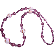 Venetian Glass and Faceted Purple Crystal Necklace