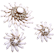 Judy Lee White Milk Glass Brooch and Earring Set