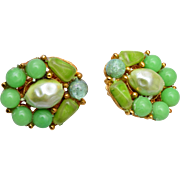 Selini Green Glass and Faux Pearl Earrings