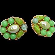Selini Green Glass and Faux Pearl Earrings