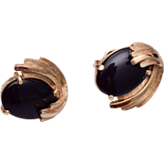 Trifari Black Cabochon Earrings