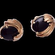Trifari Black Cabochon Earrings